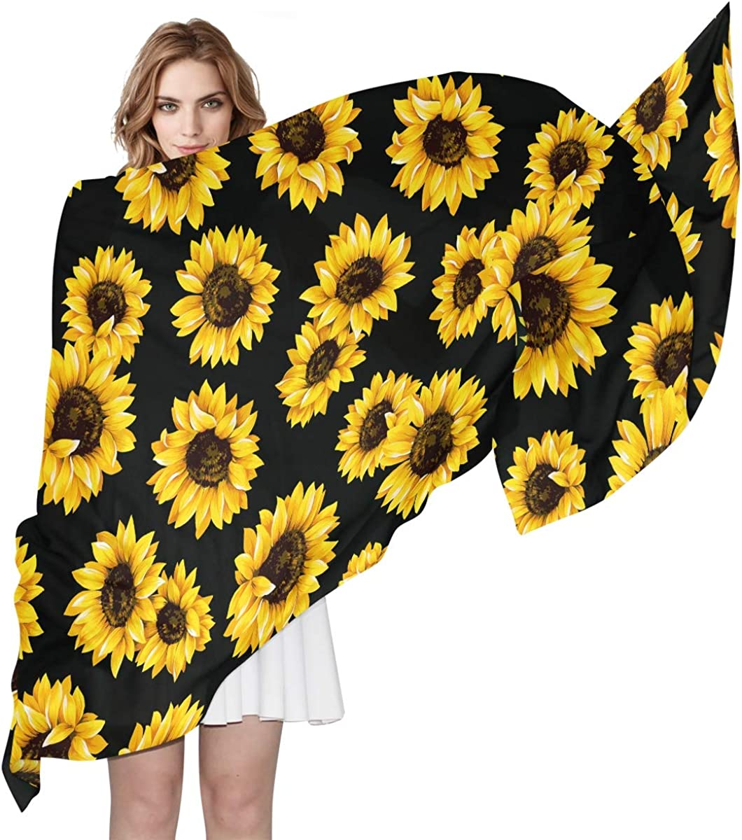 ALAZA Long Silk Like Scarf for Women Sunflower Print Floral Balck Large Head Wrap Stole