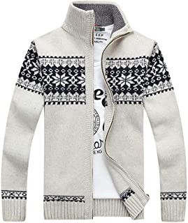 QCHENG Men's Casual Slim Autumn Winter Knitted Flower Pattern Zip Up Long Sleeve Cardigan Sweater Stand Collar Pullovers
