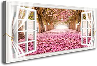 Cao Gen Decor Art-AH40150 Wall Art Trees and Pink Rose Paintings Printed Pictures Stretched and Framed Canvas Paintings Re...