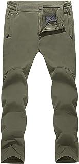 TACVASEN Men's Winter Outdoor Fleece Lined Trousers Water-Resistant Windproof Warm Trousers