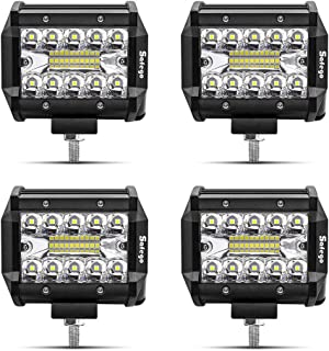 LED Pods Light Bar SAFEGO 4Pcs 4inch 60W 6000Lm Spot Beam Driving Lights Fog Off Road Lights Triple Row Waterproof LED Work Lights for Trunk Jeep ATV UTV SUV Boat 12V/24V