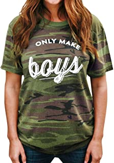 TAORE Womens Tops Women Camouflage Letter Printing T-Shirt Casual Short Sleeve Shirt Tops Blouse
