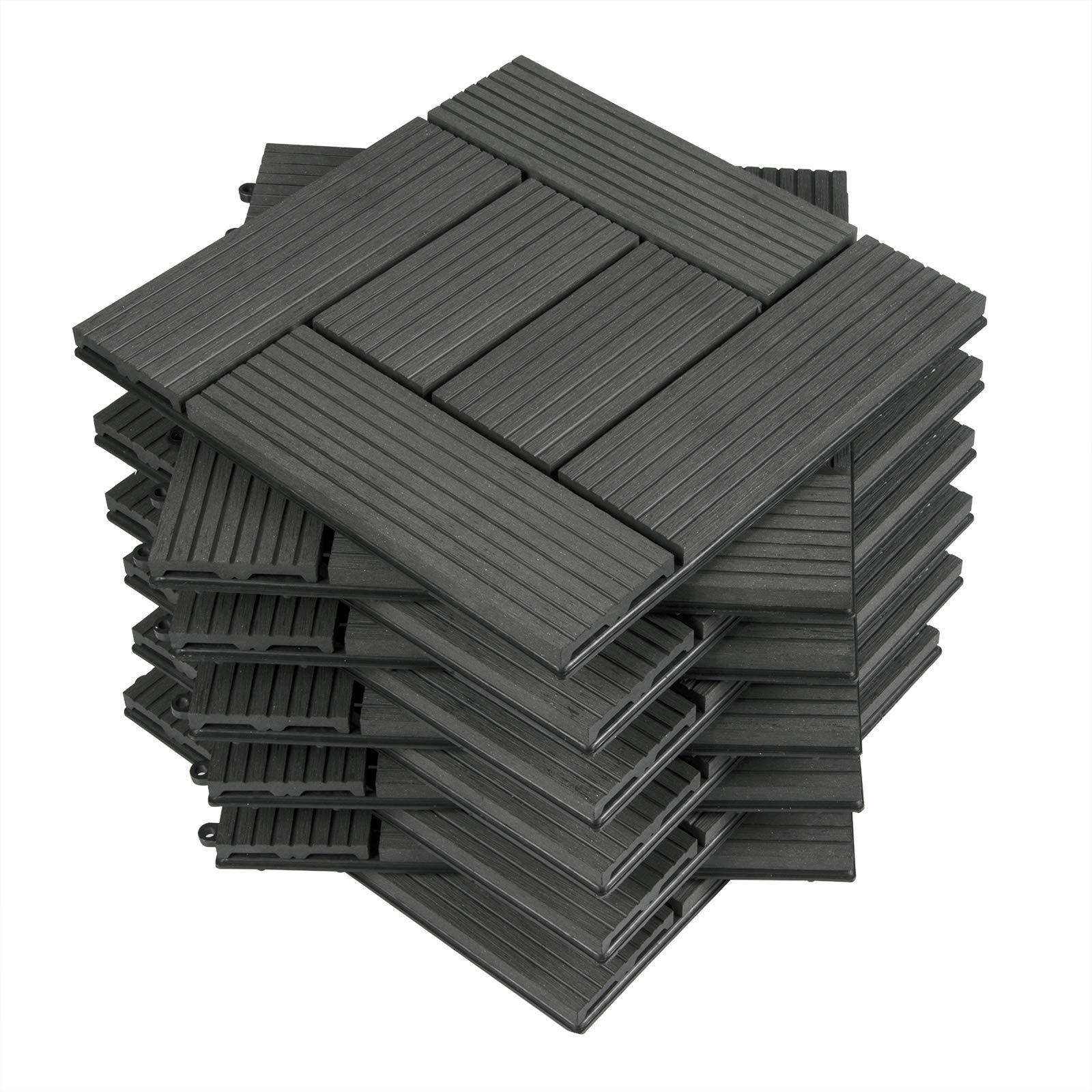 WOLTU 11x Suelo de WPC Baldosas de Madera Exterior para Porche Patios Jardin, 30 x 30 cm 1m² Suelo de Exterior Compuesta Azulejos Baldosas de WPC para Terraza Antracita: Amazon.es: Bricolaje y