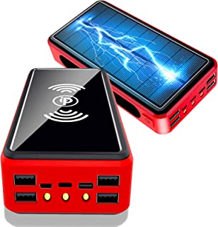 Solar Power Bank 50000mAh, Solar Charger [L-ightning & Type C & Micro USB Input] High Capacity Portable Charger Fast Charg...