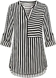 ZOMUSAR Women's Chiffon Blouse Button Split V Neck Blouse Cuffed Sleeve Striped Shirt Tops