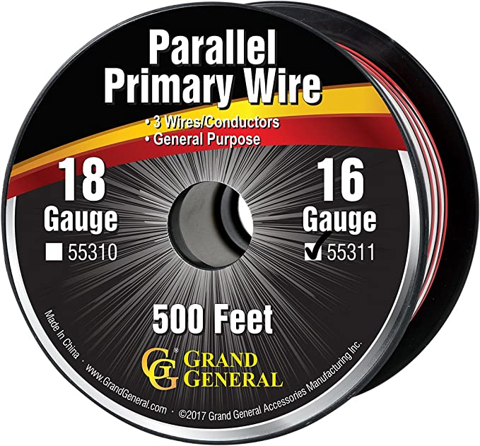 GG Grand General 55226 Primary Wire 500ft Roll with Spool for trucks, automobile and more, Black