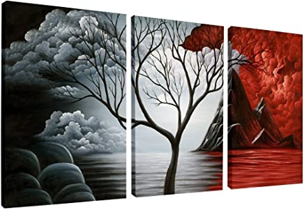Wieco Art - The Cloud Tree 3 Piece Large Modern Gallery Wrapped Giclee Canvas Prints Abstract Seascape Paintings Reproduction Sea Beach Pictures on Canvas Wall Art for Bedroom Home Decorations L