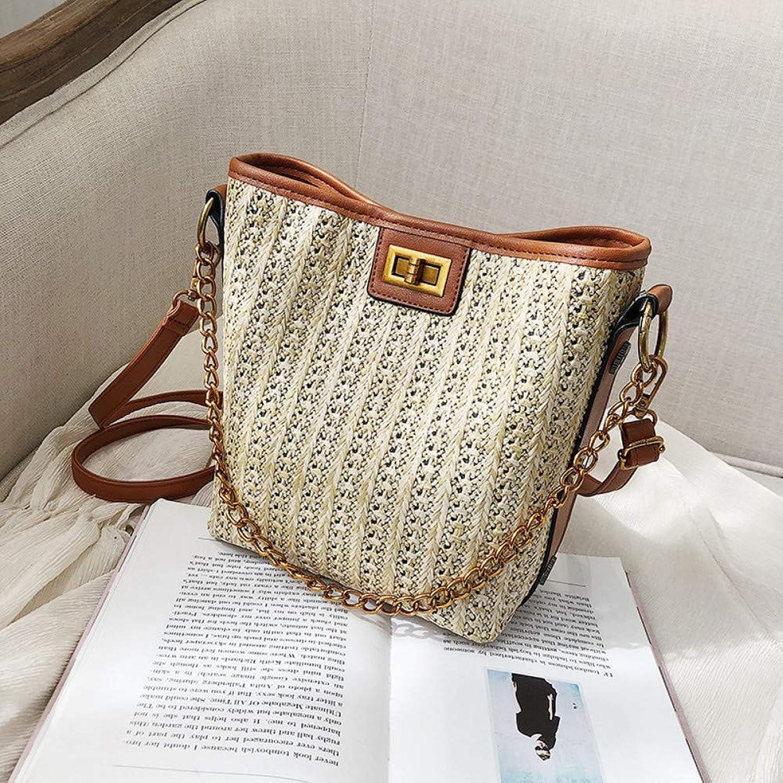 Shoulder Bag,Women Fashion Rattan Weaving Chain Handbag,CrossBody Bag,Ladies Vintage Casual Straw Bag,Large Capacity Messenger Bag TopHandle Bucket Bag Brown