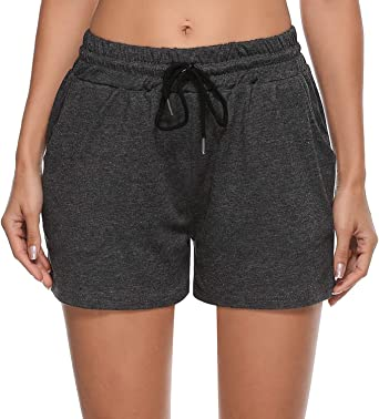 Sykooria Women's Casual Pajama Shorts Cotton Elastic Waist Yoga Running Workout Athletic Shorts Lounge Shorts with Pockets