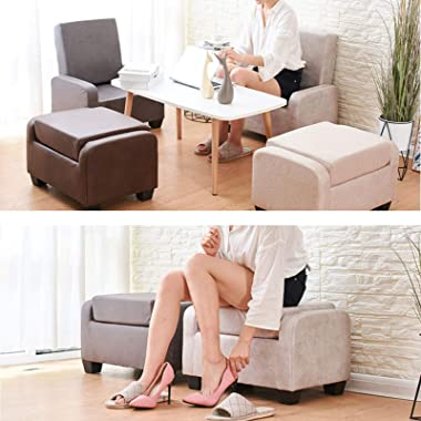 LIXIONG Ottoman, Folding Padded Footrest Stool with Faux Leather Fabric and Plastic Legs Padded Shoes Bench for Bedroom Hallw