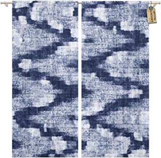 Golee Window Curtain Blue Shibori Indigo Dyed Effect Abstract Zigzag Navy Pattern Home Decor Rod Pocket Drapes 2 Panels Curtain 104 x 63 inches
