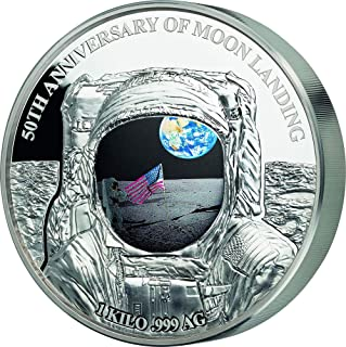 2019 BB Modern Commemorative PowerCoin MOON LANDING Apollo 50th Anniversary 1 Kg Kilo Silver Coin 25$ Barbados 2019 Proof