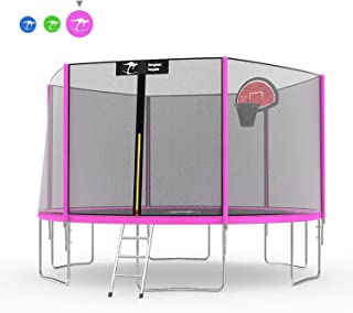 Kangaroo Hoppers 12 14 15 FT Trampoline with Safety Enclosure Net, Basketball Hoop and Ladder - 2019 Upgraded - Kids Basketball Hoop Trampoline - TUV and ASTM Tested - Multiple Color Choices