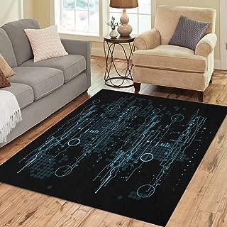 Pinbeam Area Rug Blue Aim Futuristic User Interface Hud Circle Computer Home Decor Floor Rug 5' x 7' Carpet
