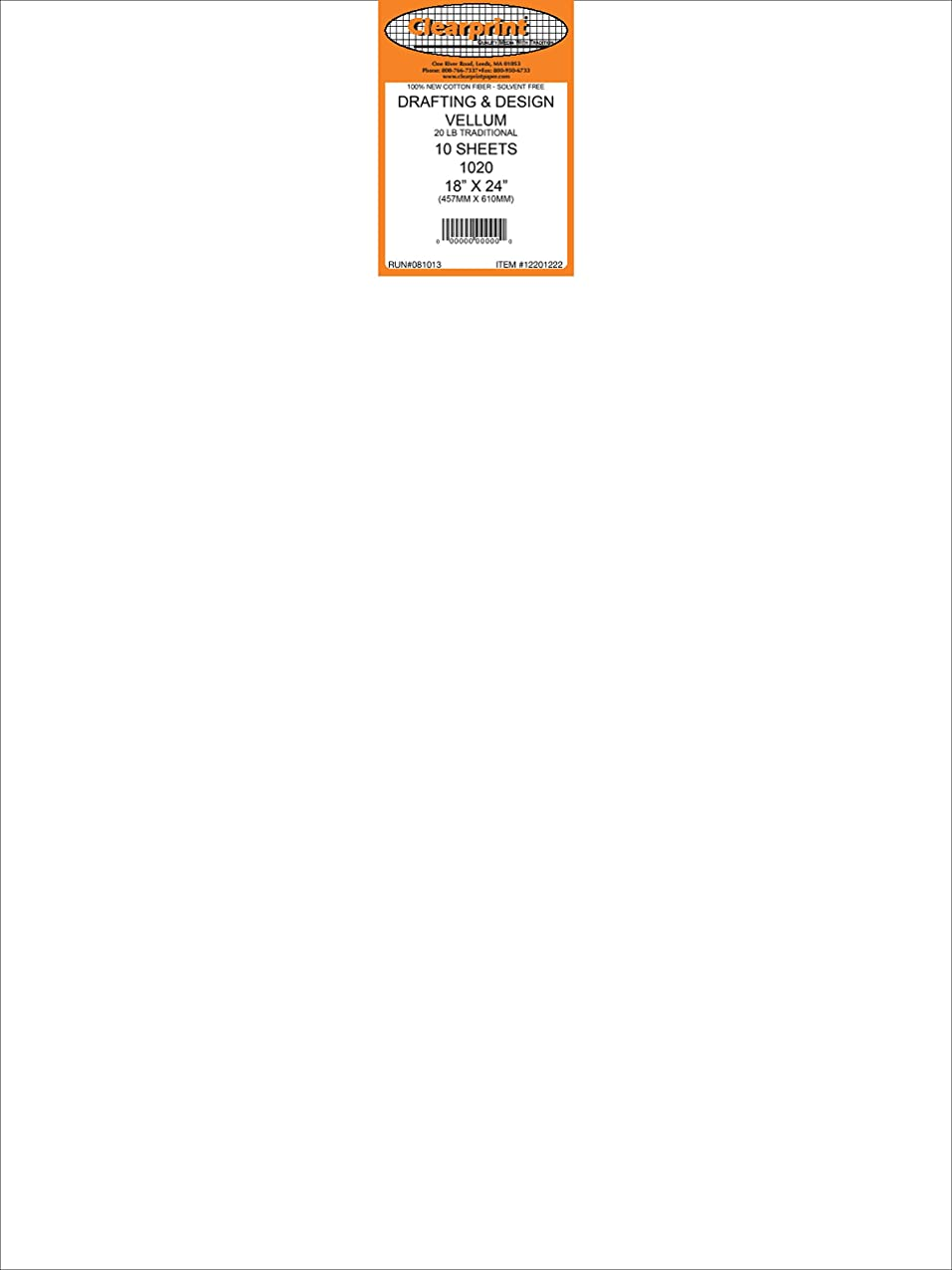 Clearprint 1020H Design Vellum Sheets, 20 lb, 100% Cotton, 18 x 24 Inches, 10 Sheets Per Pack, Translucent White, 1 Each (12201222) cdzusgrosuhss764