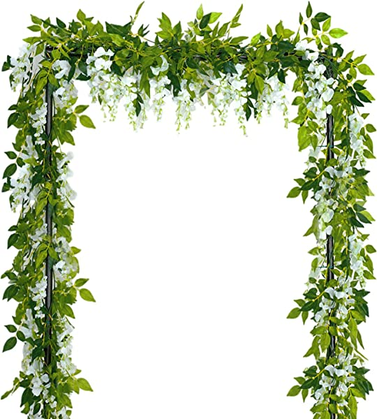 Sunm Boutique Artificial Flowers Wisteria Garland Vine Rattan Hanging For Home Garden Ceremony Wedding Arch Floral Decor 6 6 Feet 4pcs White