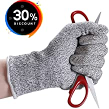 Cut Resistant Gloves, High Performance Level 5 Protection, Food Grade, Safety Cutting Gloves for Kitchen Working or Gardening, Finger Hand Protector, Machine Washable, 1 Pair (Large, white/grey)