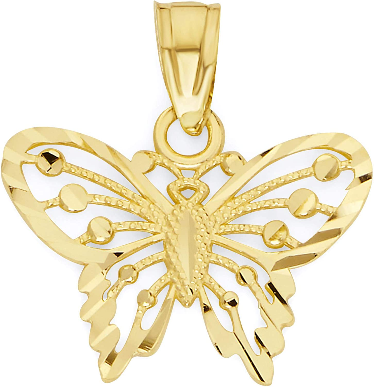 10k Solid Real Gold Butterfly Pendant Dainty Animal Charm Casual Everyday Wear Jewelry Charm