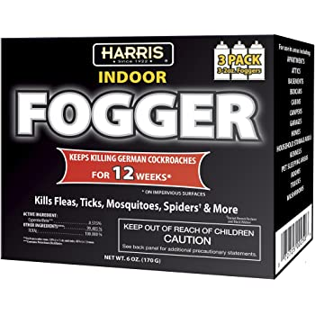 HARRIS 12 Week Indoor Insect Fogger, 3 Pack, for Roaches, Fleas, Ticks, Mosquitos, Spiders and More