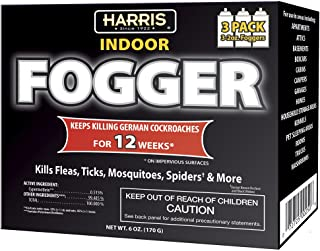 Harris Indoor Insect Fogger, 3 Pack, for Roaches, Fleas, Ticks, Mosquitos, Spiders and More