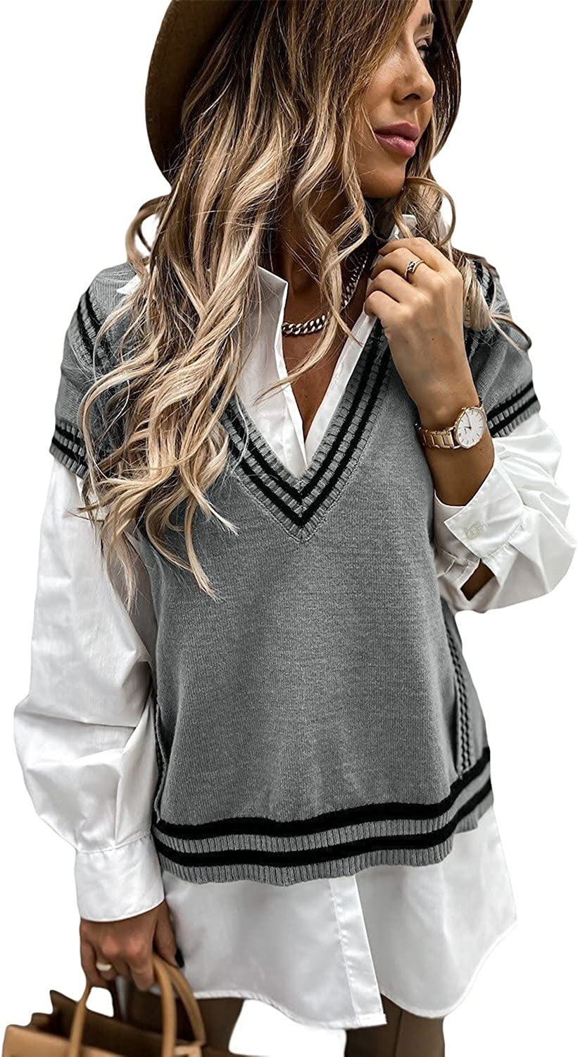 Uusollecy Women V Neck Stripes Sweater Vest Casual Sleeveless Knit Sweater Winter Cable Knit Tops Pullover Sweater