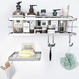 KINCMAX Shower Caddy Basket Bathroom Shelf Organizer for Shampoos with Hooks Soap Dish Holder Brush Sponge Holder Sink Cad...