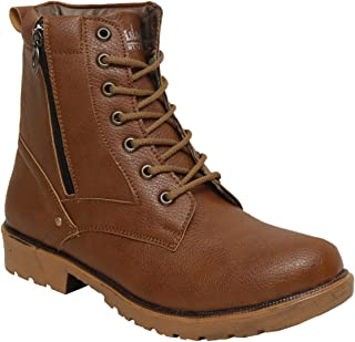 Shoe Island ® Rider-X ™ Leatherette Tan Brown Edition Zipper High Ankle Length Long Boots for Men