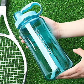 Lonni 2L Sports Water Bottles, Portable Wide Mouth Big Plastic Bottle Leakproof Space Cup BPA Free Travel Mugs with Scale,Straw,Strap for Kids Adult Summer Outdoor Sports