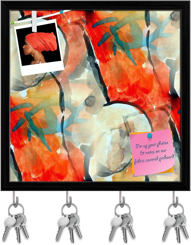 Artzfolio Red Black Cubism Key Holder Hooks   Notice Pin Board   Black Frame 20 X 20Inch