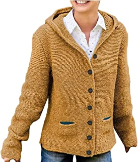 Women's Open Front Hooded Knit Cardigan Button Long Sleeve Sweater Outwear Coat