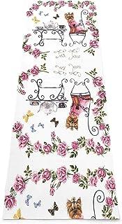 Draagbaar Yogamat Antislip,Yorkshire Terrier Tea Party Vlinders Rozen Afdrukken Eco-Vriendelijke Fitness Oefening Mat,Medi...