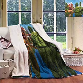 Sherpa Throw Blanket Landscape Summer View German Town Upgraded Thick Lazy Blanket W59x31L