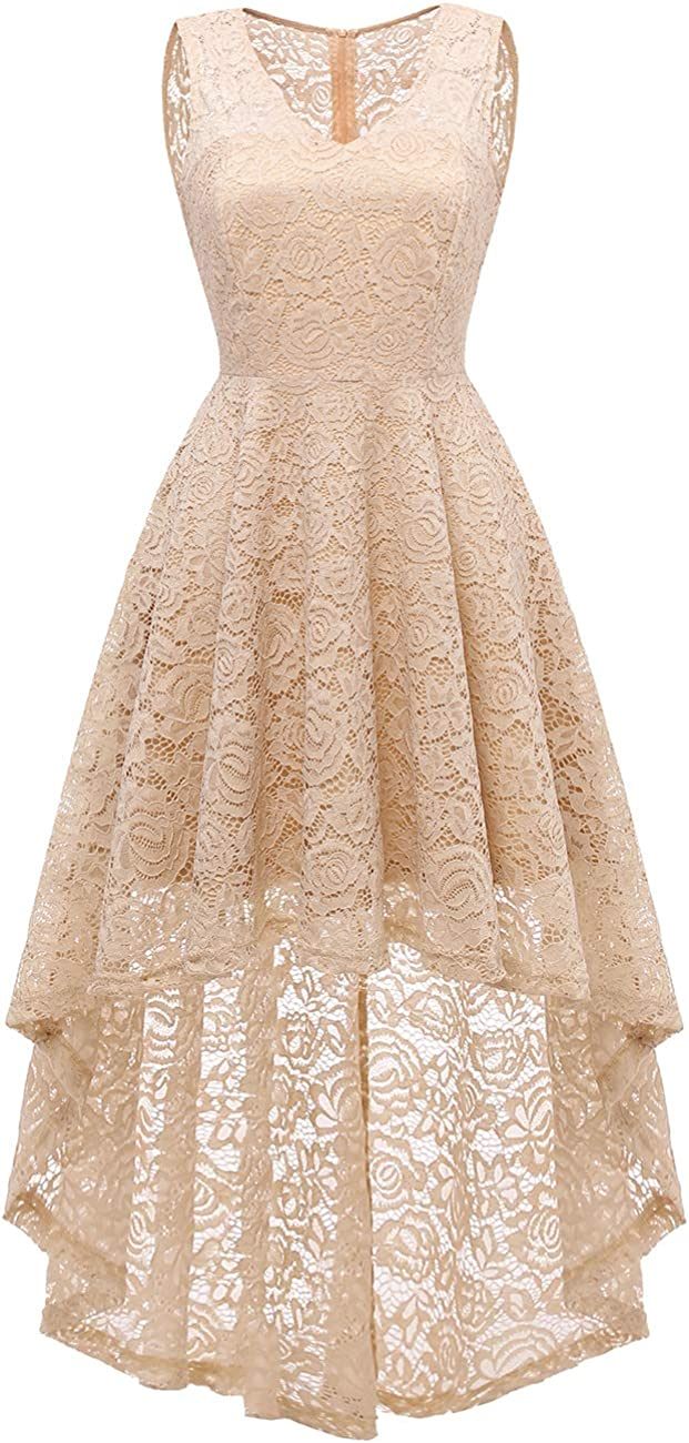 DRESSTELLS Women's Vintage Dress V-Neck Floral Lace Hi-Lo Cocktail Party Dress