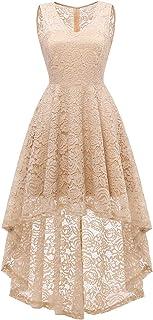 DRESSTELLS Women's Wedding Dress V-Neck Floral Lace Hi-Lo Bridesmaid Dress
