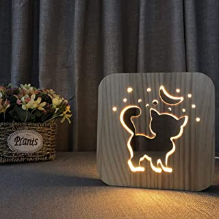 LQZN 3D Shadow Wood Cat Night Light Carved Wooden Bedside Lamp Kids Baby Night Lamp for Relaxing Atmosphere Home Decor Birthday Gifts