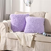 MooWoo Fluffy Pillowcase Standard Size Set of 2, Sherpa Shaggy Pillow Cases Decorative Covers with Zipper, for Home Bedroom Living Room Couch Sofa (Purple, 18X18)