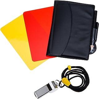 comprar comparacion Mudder Kit de Tarjetas de Árbitro de Deportes Tarjeta Roja Tarjeta Amarilla con Tarjetero y Silbato de Árbitro de Meta Sil...