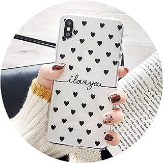 For iPhone 6 6s 7 8 Plus X XR XS Max 5 5s SE Phone Case Cartoon Love Heart I Love You Clear Soft TPU Fundas For iPhone X,For iPhone 5 5s SE,black