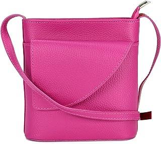 Belli ital. Ledertasche Damen Umhängetasche Handtasche Schultertasche mit zusätzlichem Klappfach - 18,5x18,5x7cm B x H x T