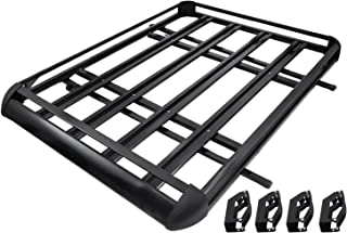 Mophorn Roof Basket Universal Aluminum Roof Rack Basket 63x40 Inch Roof Mounted Cargo Rack for Car Top Luggage Traveling SUV Holder