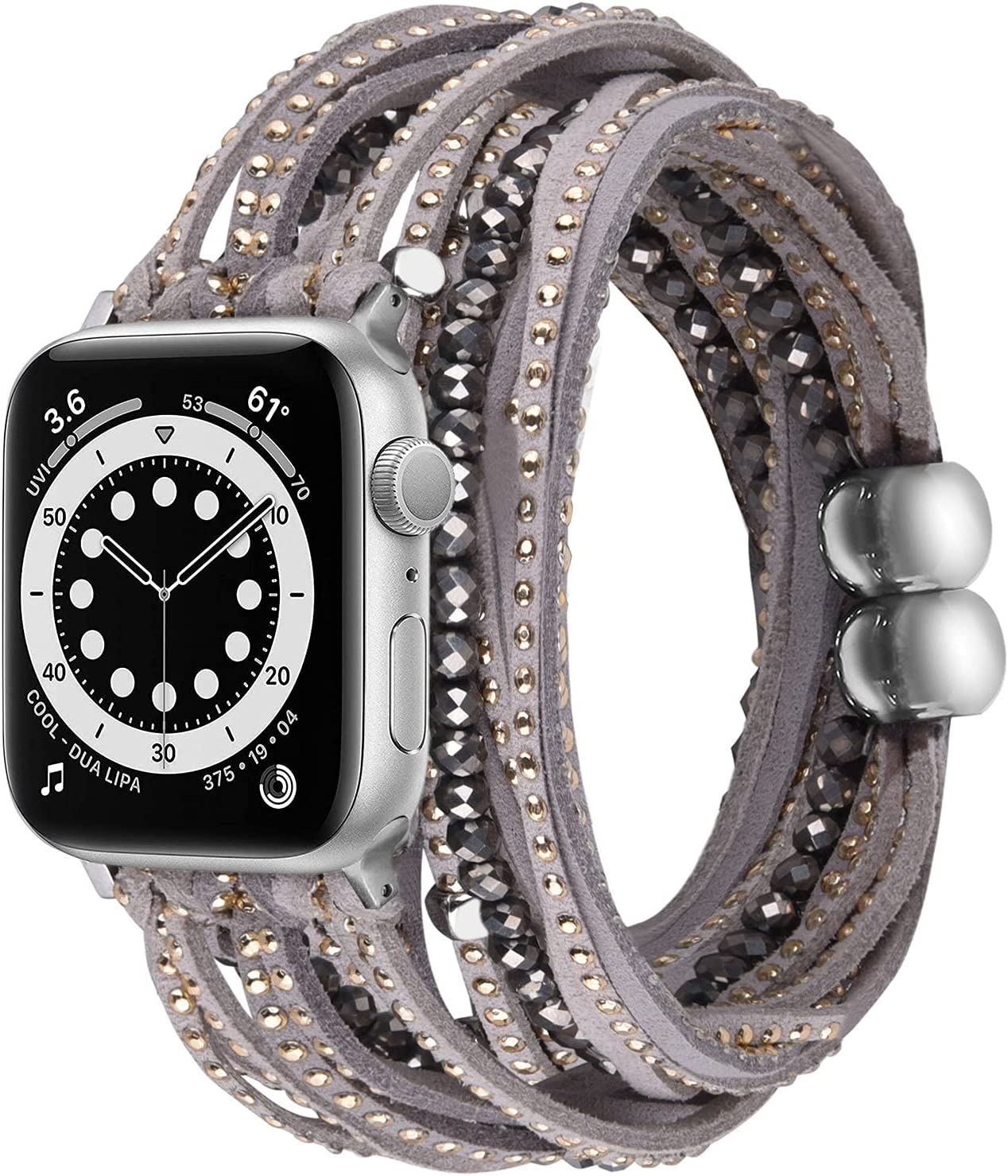 V-MORO Compatible with Apple Watch 38mm 40mm Band Multilayer Wrap Bracelets for Women Suede Leather with Handmade Boho Bead Strap Replacement for iWatch Series 6/5/4/3/2/1/SE,Fit for 5.1