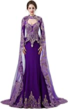 Zechun Womens Gold Lace Mermaid Long Sleeve Prom Gown Satin Wedding Dress with Tulle Cloak