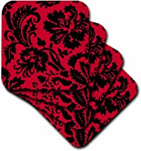 3dRose cst_151459_2 Red and Black Damask-Large Print Stylish Floral-Gothic Bold Elegant Burlesque Inspired Pattern-Soft Coasters, Set of 8