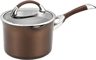 Circulon 83526 Symmetry Hard Anodized Nonstick Sauce Pan/Saucepan with Straining and Lid , 3.5 Quart, Brown