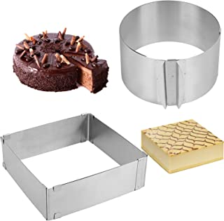 ZOENHOU 2 Pack 6-12 Inch Cake Mold Ring, Stainless Steel Mold Cake Baking Adjustable Mousse Cake Ring Mould Tools, with sc...