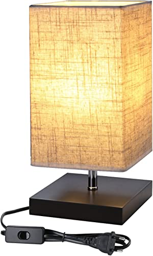 Lighting EVER Lampe de Chevet Design E27 Finitions Supers Socle en Bois Carré Abat-jour en Tissu Lampe de Chevet Rect...