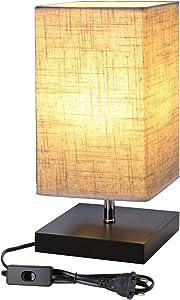 LE Lámpara de mesa, LED luz mesita de noche, E27, pantalla de tela, diseño clasico vintage para dormitorio, estudio, salon etc