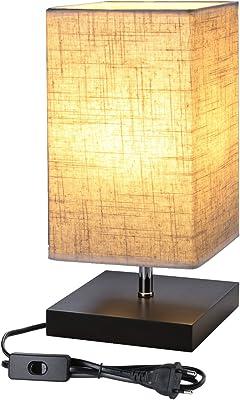 Lighting EVER Lampe de Chevet Design E27 Finitions Supers Socle en Bois Carré Abat-jour en Tissu Lampe de Chevet Rectangulaire Ambiance Jolie lumiere Tamisée pour Chambre Salon Hotêl Café