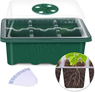 10 Set Seedling Trays Seed Starter Kit, MIXC 60 Large Cells Mini Propagator Plant Grow Kit with Humidity Vented Domes and Base for Seeds Starting Greenhouse (6 Cells per Tray)