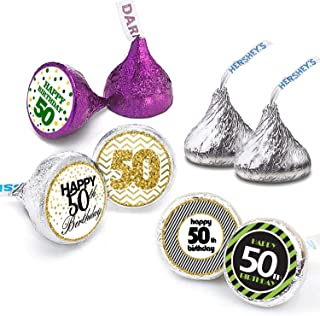Happy 50th Birthday Stickers For 50 Years Old Party Decoration - Birthday Favor Labels -216 Count